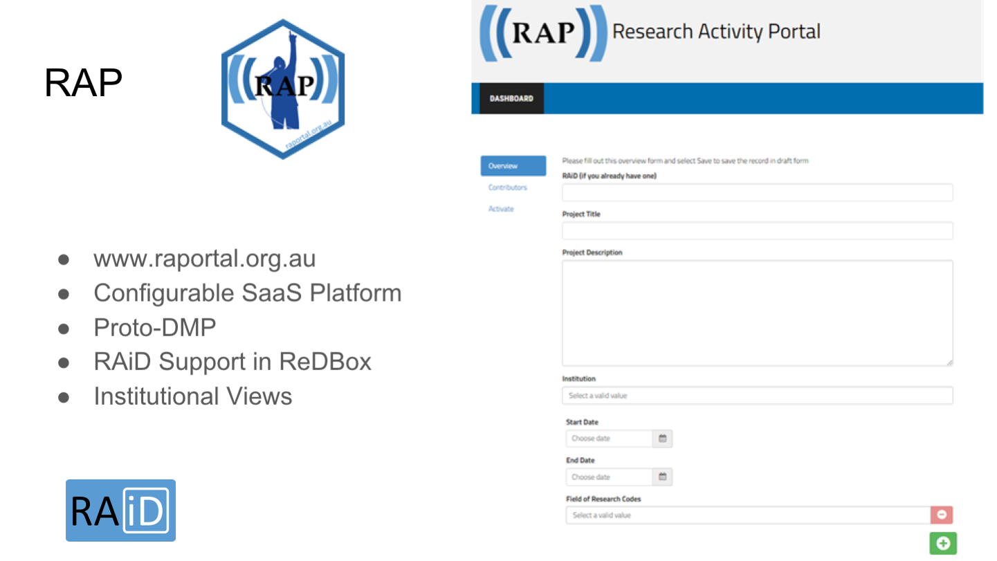RAP www.raportal.org.au Configurable SaaS Platform Proto-DMP RAiD Support in ReDBox Institutional Views <p>