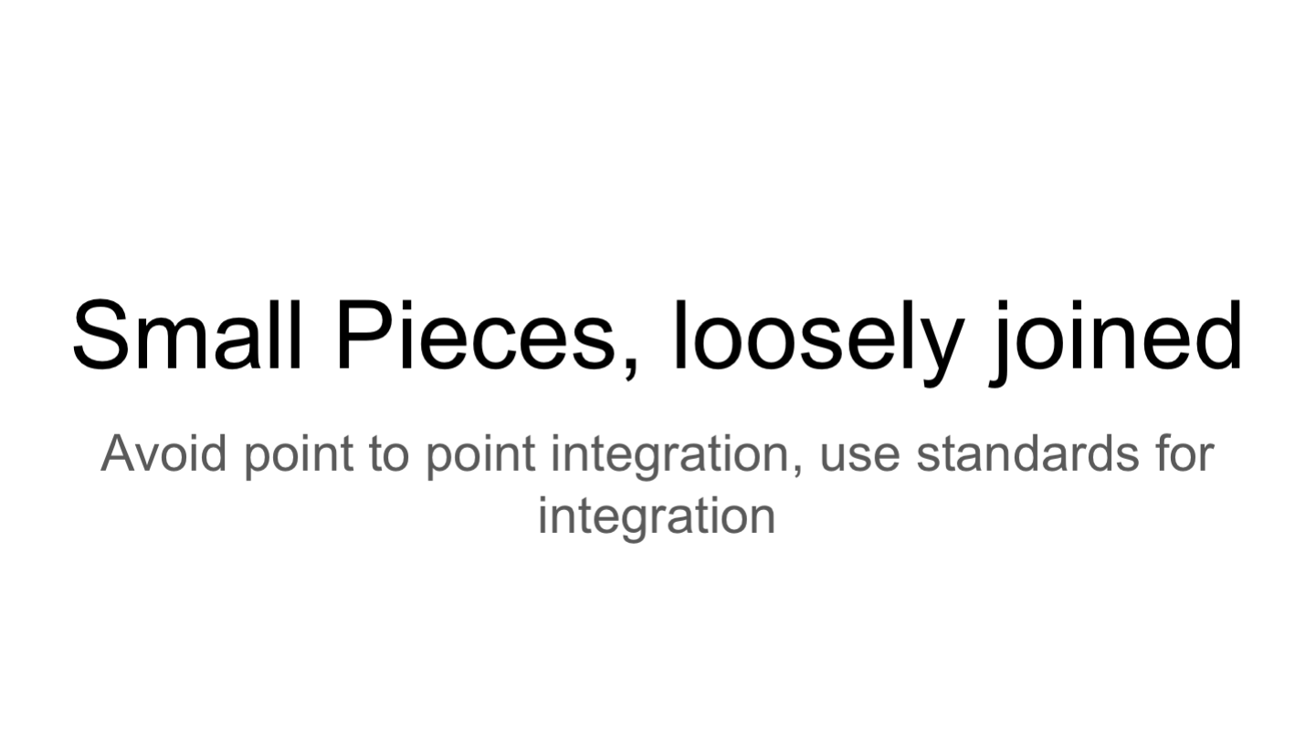 Small Pieces, loosely joined Avoid point to point integration, use standards for integration <p>