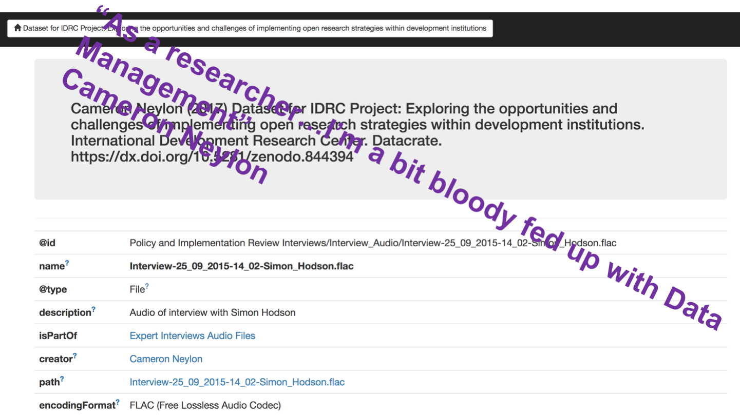 "<p>""As a researcher…I'm a bit bloody fed up with Data Management"" Cameron Neylon"