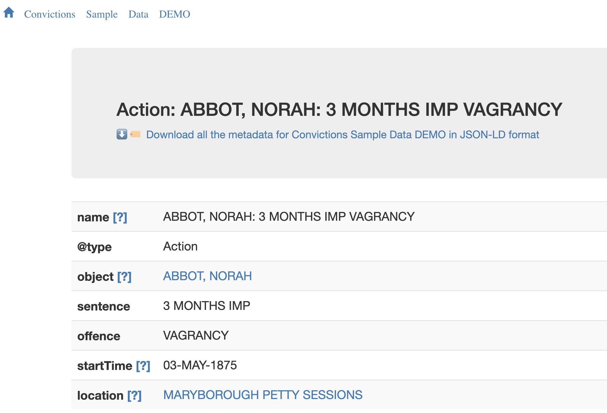 Screen capture of metadata in RO-CRATE, described above