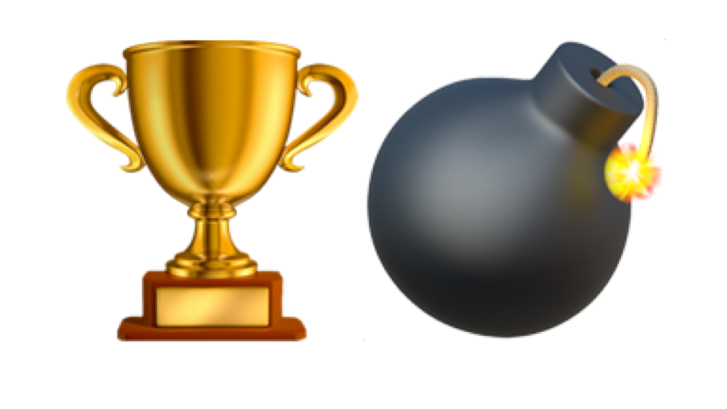 Emoji of a trophy and a bomb