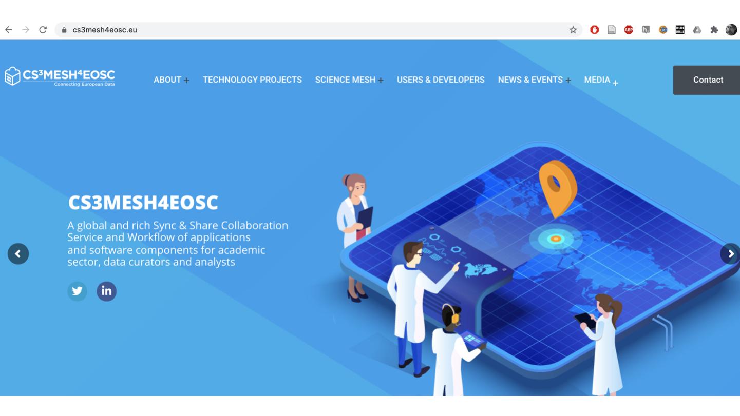 <p>Schreenshot of CS3MESH4EOSC homepage.</p> <p>