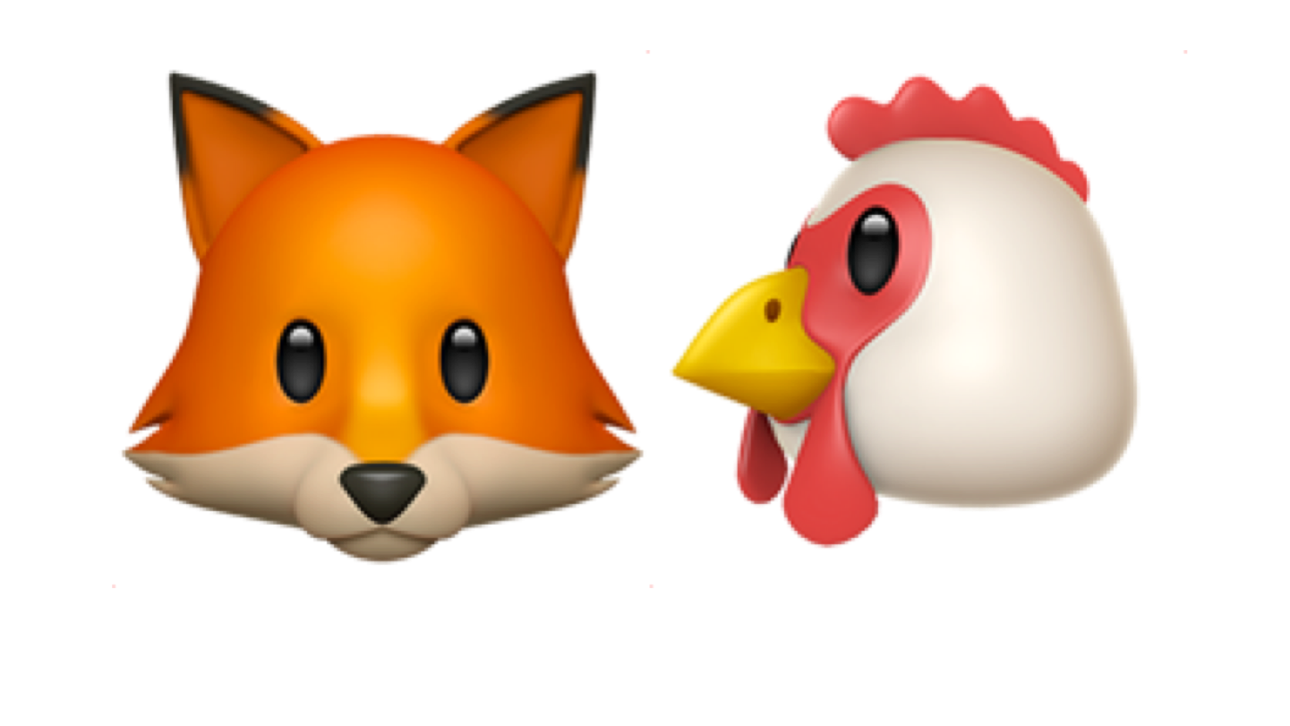 Fox and hen emojis