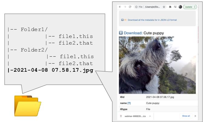 📂 <p>|-- Folder1/ |          |-- file1.this |          |-- file2.that |-- Folder2/ |     |-- file1.this |          |-- file2.that |-2021-04-08 07.58.17.jpg</p> <p>