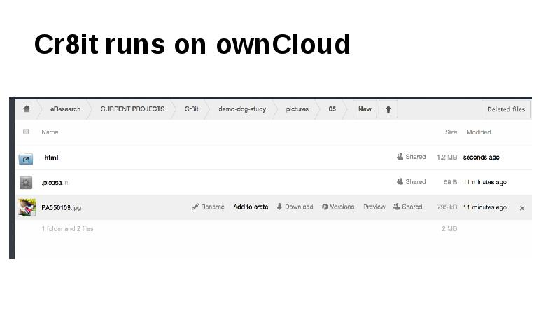 Cr8it runs on ownCloud