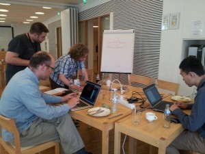 Members of the Fill My List team (minus Claire Knowles who took the pic) hard at work at Open Repositories 2014